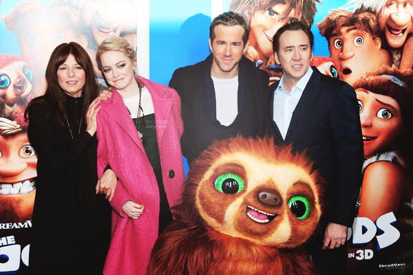 10/03/2013 : Emma  et co-stars étaient présents à l'avant première de The Croods dans la ville de New York