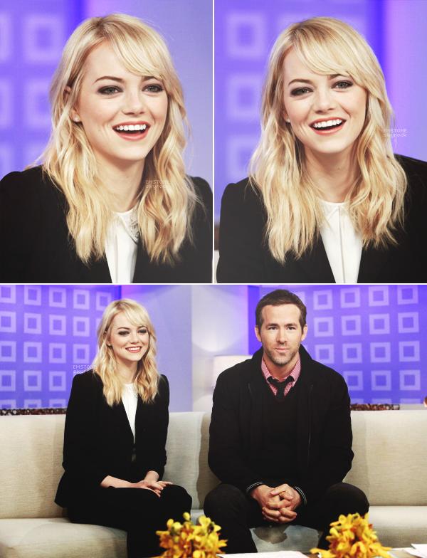 """08/03/2013 : Emma  et Ryan Reynolds étaient sur le plateau du  """"Today"""" show pour promouvoir The Croods."""