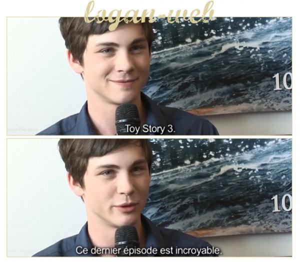 * Etant une grande fan de Toy story, j'ai acheté le DVD, du dernier épisode, et j'ai remarqué une ressemblance entre Andy ( qui à d'ailleurs beaucoup grandit ) et Logan. Vous en pensez quoi vous ?  Ensuite, quand on demande à Logan son avis il nous le donne clairement, vous pourrez regarder la vidéo en cliquant sur le texte. Alors vos avis ? L'article vous plait ? ^^ **