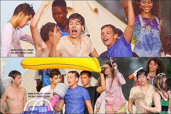 """. 25.08.12: Zayn et les garçons ont étés vu sur le set de """"Live While We're Young""""  .."""