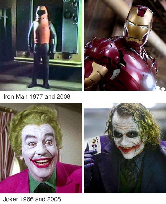 Les héros et méchants avant et aujourd'hui