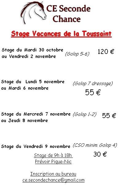 Stage vacances Toussaint