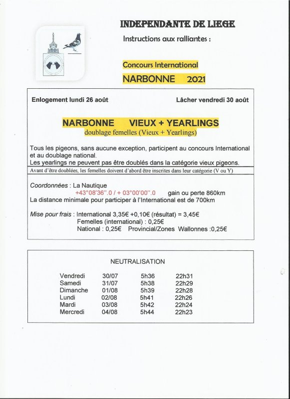 Inter Narbonne Instructions !!!!