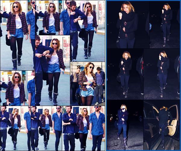 -20/01/2012- ─ Miley Cyrus a été photographiée, alors, qu'elle arrivait au restaurant « Wokcano », dans West Hollywood !La belle chanteuse a ensuite été photographiée dans la soirée arrivant au « LA Observatory » dans le Hollywood Hills... Concernant ses tenues, des tops !