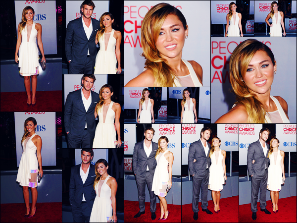 -11/01/2012- ─ Miley Cyrus était présente lors de la cérémonie des « People's Choice Awards » au Nokia Theatre à - L.A.C'est en compagnie de Liam H. que la belle chanteuse a foulée le tapis rouge de la cérémonie. Concernant sa tenue, c'est un très jolie top pour ma part !