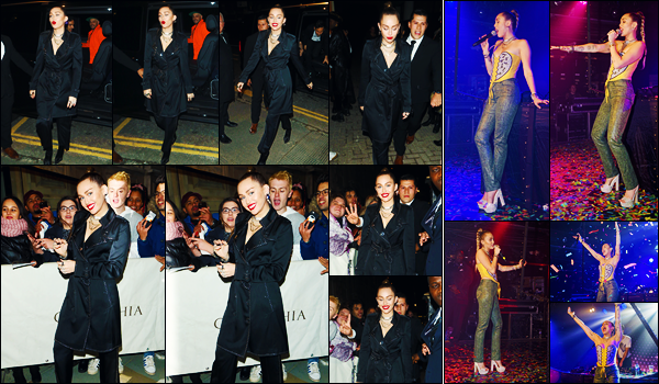 -07/12/2018- ─ Miley Cyrus a été vue arrivant au lancement de « Burberry x Vivienne Westwood Collection » à - Londres !C'est ensuite à la boîte de nuit « G-A-Y » que la chanteuse a performer son nouveau titre ! Concernant ses tenues, ce sont des beaux tops pour ma part !