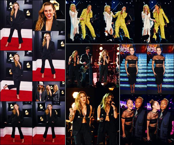 -10/02/2019- ─ Miley Cyrus était présente lors des « 61st Annual GRAMMY Awards » au Staples Center dans Los Angeles !La belle chanteuse Miley a porter quatre tenues différente lors de la soirée, et a chanter « In My Blood » avec Shawn Mendes ! Sa tenue est un beau top.