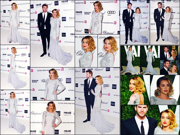 -26/02/2012- ─ Miley Cyrus était présente lors des « 20th Annual Elton John AIDS Foundation », étant, dans Los Angeles !Par la suite, Miley C. était présente lors des « Vanity Fair Oscar Party » en compagnie de Liam... Concernant sa tenue, c'est un très jolie top de ma part !