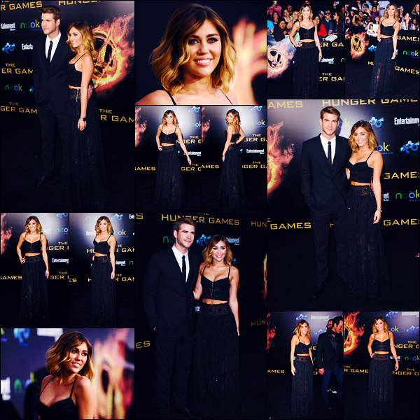 -12/03/2012- ─ Miley Cyrus était présente lors de l'avant-première du film « The Hunger Games » étant dans Los Angeles.C'est évidemment en compagnie de son fiancé, Liam Hemsworth que la belle chanteuse était présente... Concernant sa tenue, un beau top de ma part !