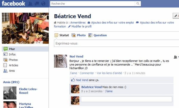 APPRÉCIATIONS SUR MON FACEBOOK : BEATRICE VEND