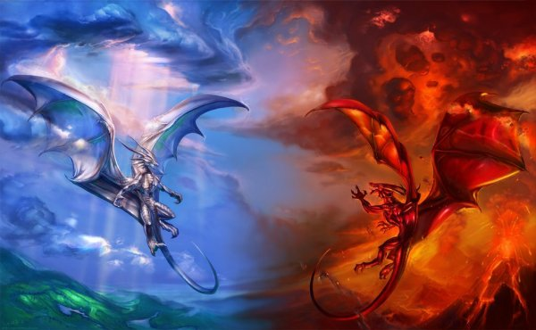 Dragon bleu et dragon rouge