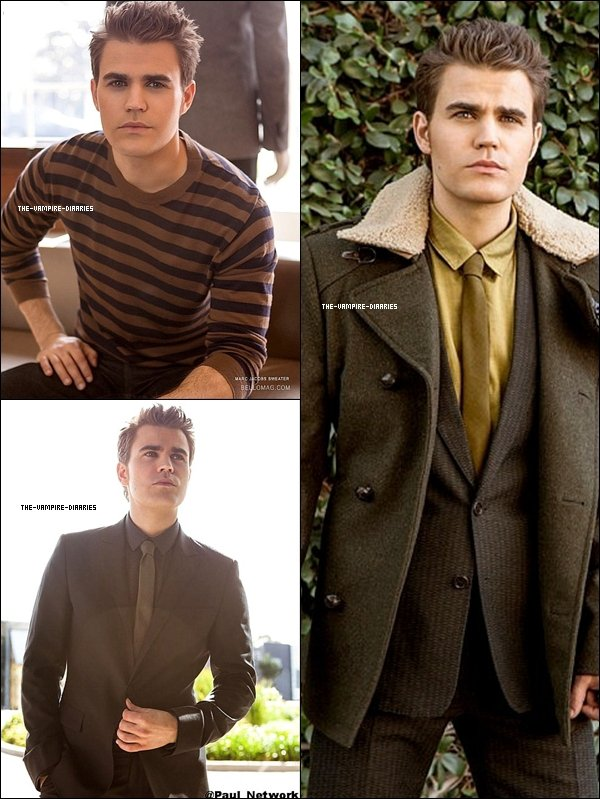 """Découvrez de nouvelles photos de notre magnifique Paul pour le magazine """"Bello"""" datant de Novembre/Décembre 2012."""