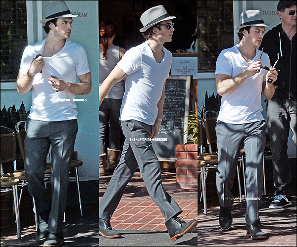 Ce 28 février, Ian très beau a été vu quittant un restaurant accompagné d'un ami dans West Hollywood.