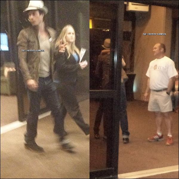 Découvrez 2 photos, de très mauvaises qualités, de Ian quittant l'hôtel Westin O'Hare.