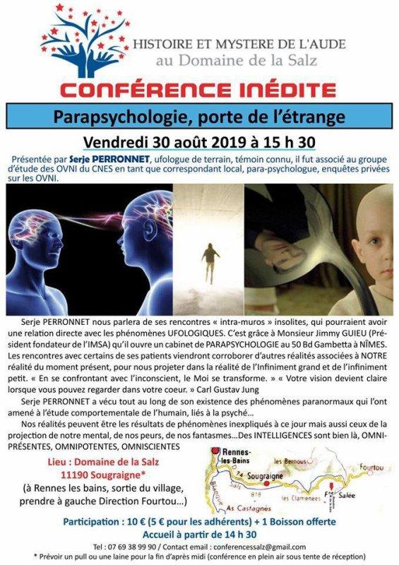 Serje Perronnet  conférence   porte de l ' étrange  parapsychologie