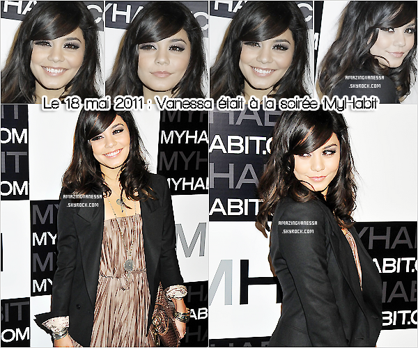 """Le 18/05, Vanessa était présente à la soirée qui était organisée par MyHabit pour le lancement de son site web """"MyHabit.com"""" ! J'aime beaucoup sa tenue & son maquillage ! C'est un TOP ♥  05 chiffres : 10 chiffres - 05 vrais : 10 vrais .Précise."""