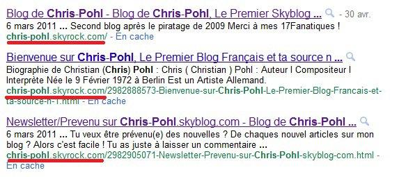 """En notant """"Chris Pohl"""" sur Google, je suis tombée sur le lien de mon blog. Mon dieu, Je suis trop fière !  ♥"""