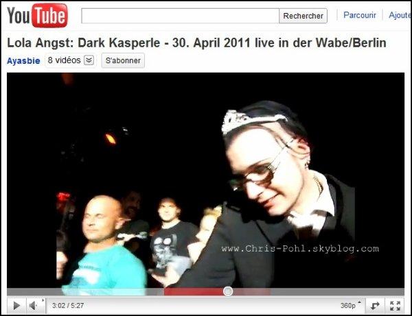 Des photos asser étrange de Chris Pohl sont apparu sur le web, ainsi que les vidéo (vidéo disponible ci-dessous) , il y a 3-4 jours de cela. En tout cas, notre Chris se prends pour une jolie petite princesse (; D'après les sources que j'ai récolter, Chris ( sur les photos )  serais au Dark Kasperle - Le 30. Avril 2011 en live à Wabe/Berlin