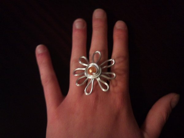 Bague Margurite Argent plus perle orange