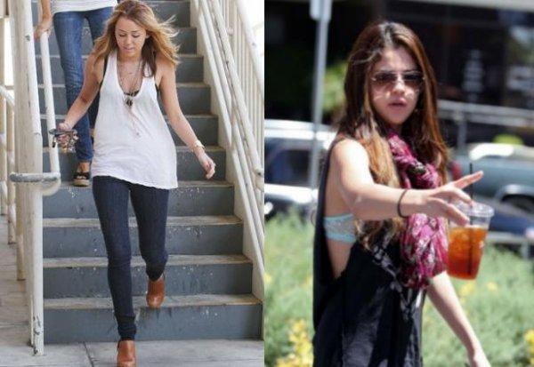 Miley Cyrus : Selena Gomez, un battle de look de style loose!