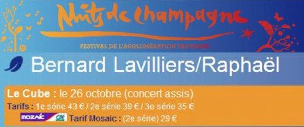Bernard Lavilliers et Raphael aux Nuits de Champagne 26 octobre 2011