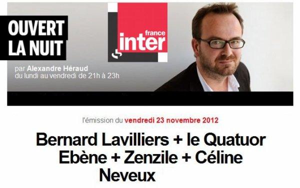 """Lavilliers, vendredi 23 novembre 2012, 21h - 23h sur France inter """"Ouvert la nuit"""""""