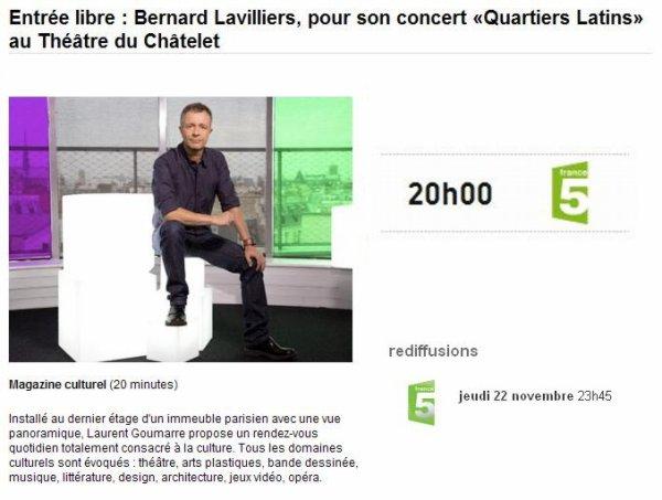 """Bernard Lavilliers ce soir 22 novembre 2012 sur France 5 """"Entrée libre"""" à 20H"""