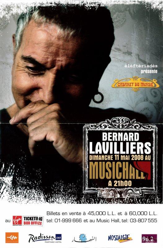 Lavilliers - photo de l'affiche et vidéo de Samedi soir à Beyrouth concert de Beyrouth. 11 mai 2008