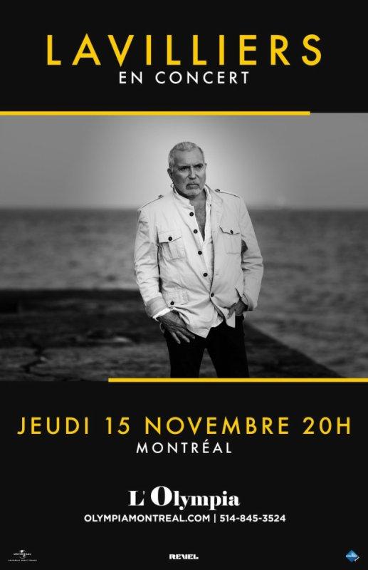 Voila l'affiche du concert de Bernard Lavilliers à L'Olympia de Montréal, Canada, du 15 novembre 2018.