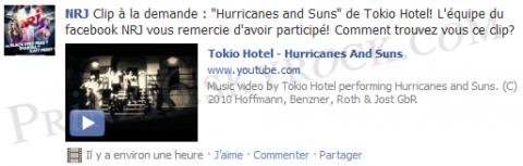 """""""Hurricanes And Suns"""" comme """"Clip A La Demande"""" sur le """"Facebook"""" d'""""NRJ"""" !!!"""