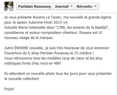 Roxane Le Texier, effigie de la marque Parisian Runaway !