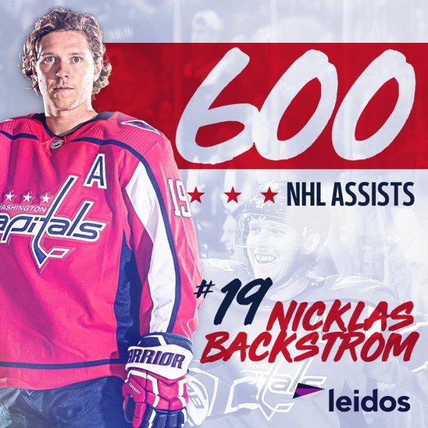 Nickas Backstrom - 600 assistances en NHL