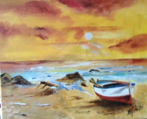"""Lége Cap-Ferret le soir : peinture acrylique et huile 40X30 Intitulé """"Bord de mer de nuit"""""""