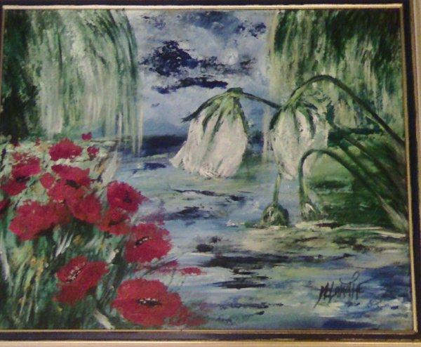 """Tableau peinture mixte 60X40: Intitulé """"Fleurs blanches et rouges"""" 90¤"""