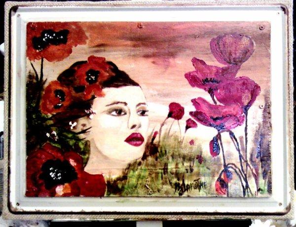 """Peinture à l'huile 30X20 :50,¤ Intitule:""""Ame de coquelicot"""
