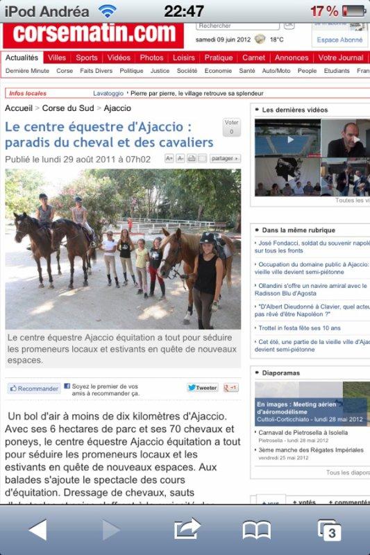 Ajaccio équitation au journal !!! :D