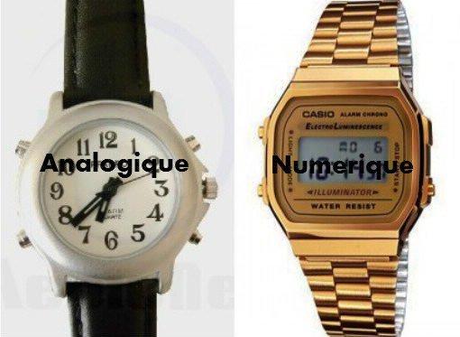 Montre Analogique / Montre Numérique.