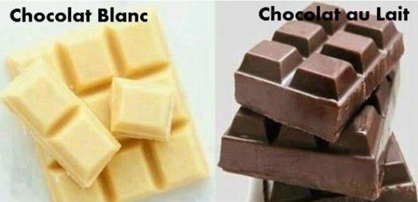 Chocolat Blanc / chocolat au lait.