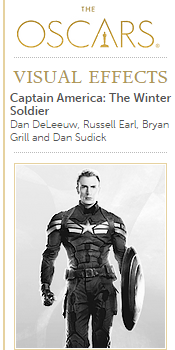 Captain America: The Winter Soldier - Oscars nomination (Best Visual Effects)
