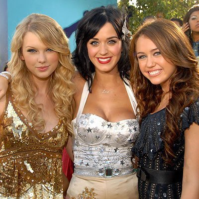 Taylor Swift Katy Perry et Miley Cyrus