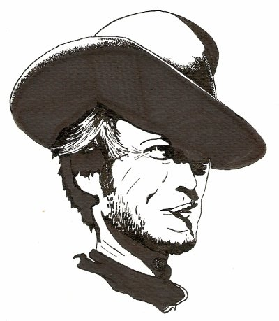 "dessin d'après photos Clint Eastwood ""For a Few Dollars More"""