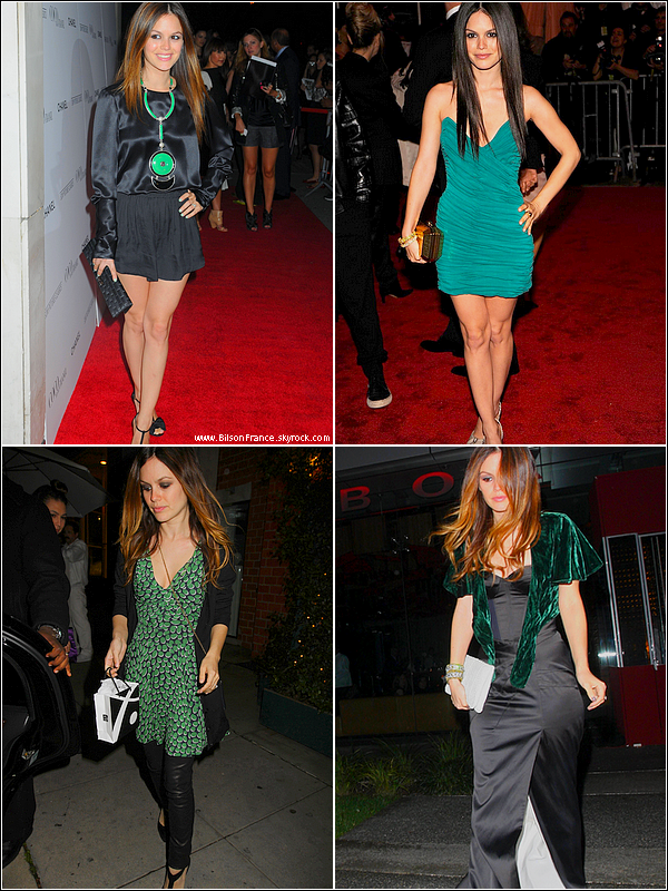 . Tendance  : Une touche de vert dans les tenues de Rachel. .
