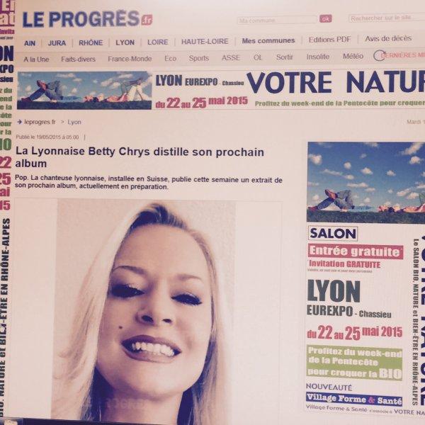 ARTICLE dans le journal LE PROGRES de Lyon sur la chanteuse BETTY CHRYS