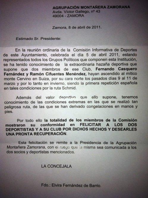 FELICITACIONES INSTITUCIONALES A CASQUERO Y CIFUENTES POR SU ASCENSIÓN AL CERVINO,CARA NORTE.