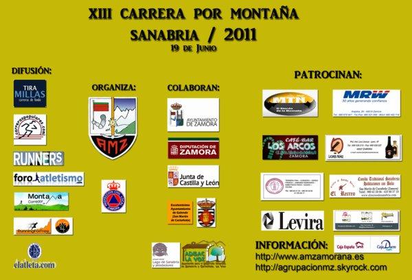 CARRERA DE MONTAÑA SANABRIA 2011 - CARTEL ANUNCIADOR Y PATROCINADORES