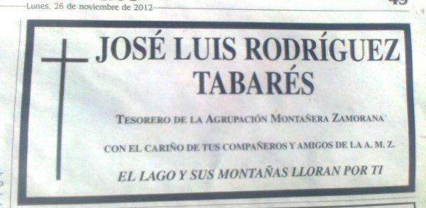 DESCANSE EN PAZ: JOSE LUIS RODRIGUEZ TABARÉS +
