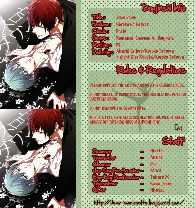 "Doujinshi : ""Dear Marionnette"" (AkaKuro) - Partie 1/3."
