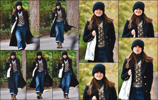 """"""" • 29/10/18 — Keira Knightley a été photographiée alors qu'elle se baladait dans les rues de la ville de Londres en Angleterre. """""""