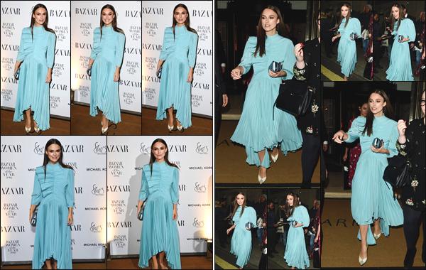 """ • 30/10/18 — Keira Knightley était présente, lors des « Harper's Bazaar Women of the Year Awards », ayant lieu à Londres ! """