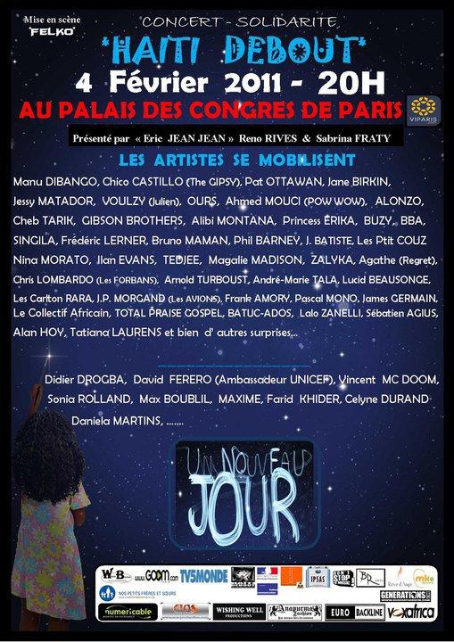 """Concert le  4 Février 2011 au Palais des Congrés """" Haiti Debout"""""""